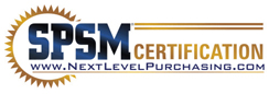 The SPSM Certification official logo from the Next Level Purchasing Association.