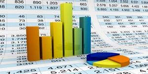 lot of numbers in a spreadsheet and charts over it (3d render)