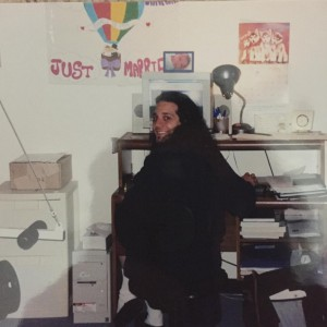 """Charles working in Next Level Purchasing's first """"headquarters"""" - his basement, 2002."""